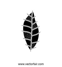 striped leaf icon, silhouette style