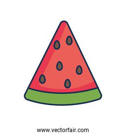 watermelon fruit icon, line fill style