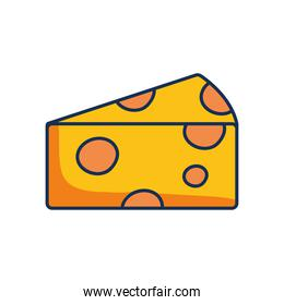 cheese piece icon, line fill style
