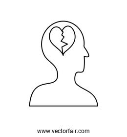 mental health concept, profile head with broken heart, line style