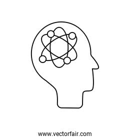 mental health concept, human head with atom icon, line style