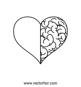 mental health concept, heart with half brain icon, line style