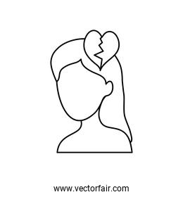mental health concept, woman head with broken heart icon, line style