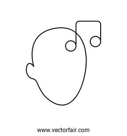 mental health concept, head with musical note icon, line style