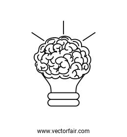 mental health concept, bulb light with brain over white, line style