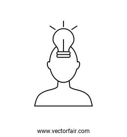 mental health concept, head with bulb light icon, line style