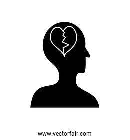 mental health concept, profile head with broken heart, silhouette style