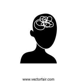 mental health concept, head with a knot icon, silhouette style