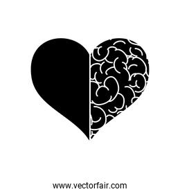 mental health concept, heart with half brain icon, silhouette style