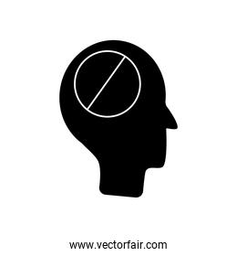 mental health concept, head with forbidden sign icon, silhouette style