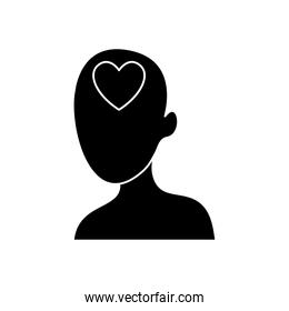 head with heart icon, silhouette style