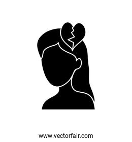 mental health concept, woman head with broken heart icon, silhouette style