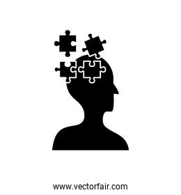 mental health concept, jigsaw pieces and head icon, silhouette style