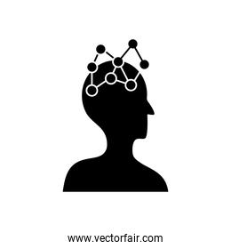mental health concept, head with chemical bind icon, silhouette style