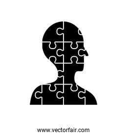 mental health concept, jigsaw in person shape icon, silhouette style