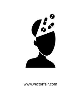 mental health concept, head with medical pills and capsules, silhouette style