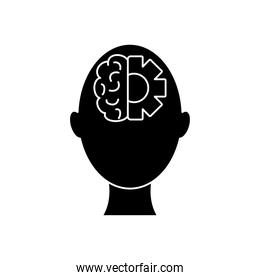 mental health concept, head with brain and gear wheel icon, silhouette style