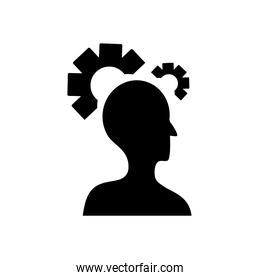 mental health concept, head with gear wheels icon, silhouette style