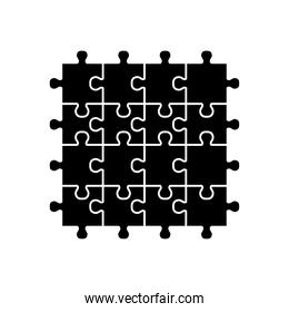 square jigsaw icon, silhouette style
