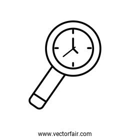 magnifying glass clock icon, line style