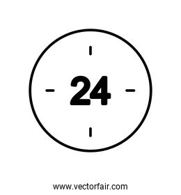 24 hours clock icon, line style