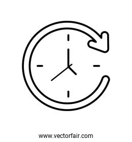 circle arrow and clock, line style