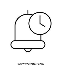 bell and clock icon, line style