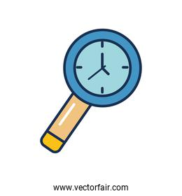 magnifying glass clock icon, line fill style