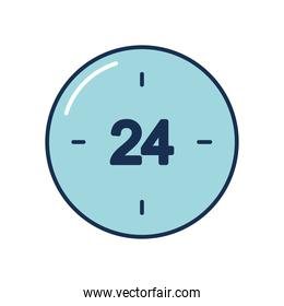 24 hours clock icon, line fill style