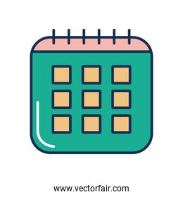 calendar planner icon, line fill style