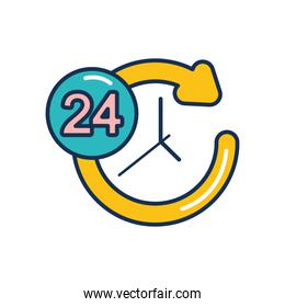 24 hours clock and circle arrow icon, line fill style