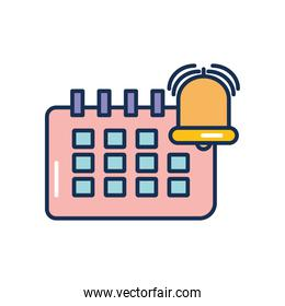 calendar planner and alarm bell icon, line fill style