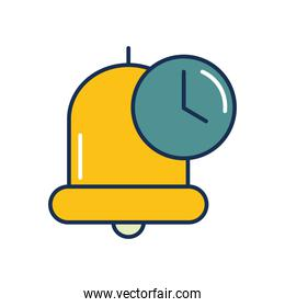 bell and clock icon, line fill style