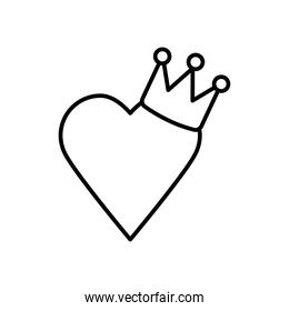 heart with crown icon, line style