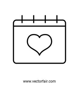 calendar with heart icon, line style
