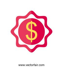 money seal icon, flat style