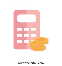 calculator and money coins icon, flat style