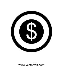 money coin icon, silhouette style