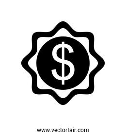 money seal icon, silhouette style