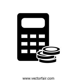 calculator and money coins icon, silhouette style