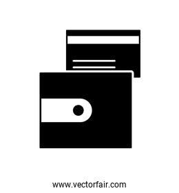 wallet and credit card icon, silhouette style