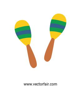 maracas instrument flat style icon vector design