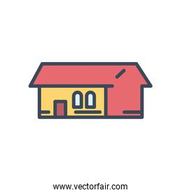 house with windows and door line and fill style icon vector design