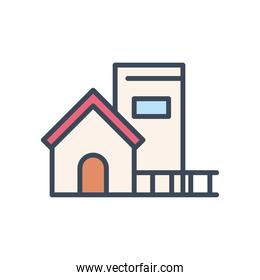 house with window and door line and fill style icon vector design