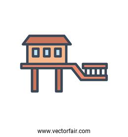 house with windows door and bridge line and fill style icon vector design