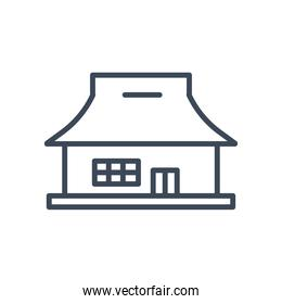 house with window and door line style icon vector design