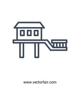 house with windows door and bridge line style icon vector design