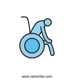 Isolated grandfather avatar on wheelchair line and fill style icon vector design