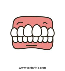 teeth box line and fill style icon vector design