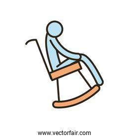 grandfather on chair line and fill style icon vector design